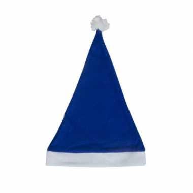 Blauwe voordelige kerstmuts volwassenen