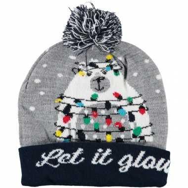 Foute kerstmutsen/mutsen/wintermutsen let it glow verlichting