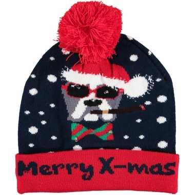 Foute kerstmutsen/mutsen/wintermutsen merry x mas verlichting