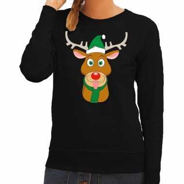 Foute kersttrui rendier rudolf groene kerstmuts zwart dames