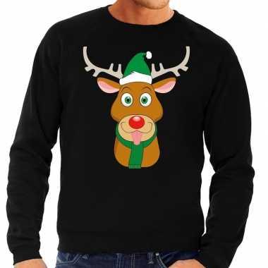 Foute kersttrui rendier rudolf groene kerstmuts zwart heren