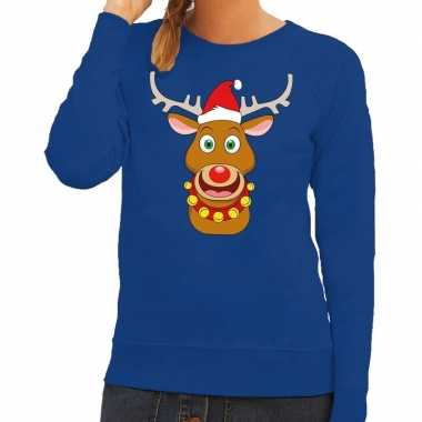 Foute kersttrui rendier rudolf rode kerstmuts blauw dames
