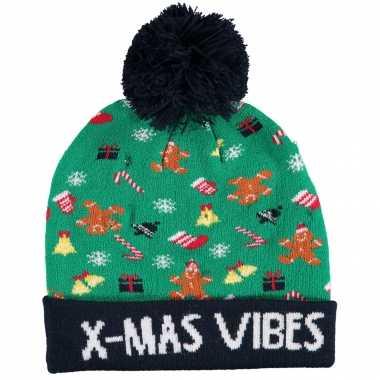 Foute kinder kerstmutsen/wintermutsen x mas vibes verlichting