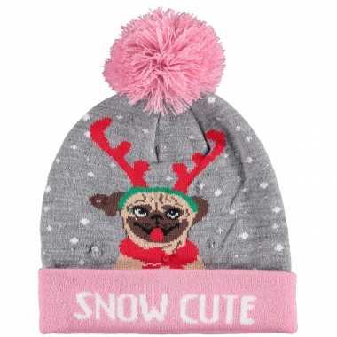 Foute kinder kerstmutsen/wintermutsen snow cutie verlichting