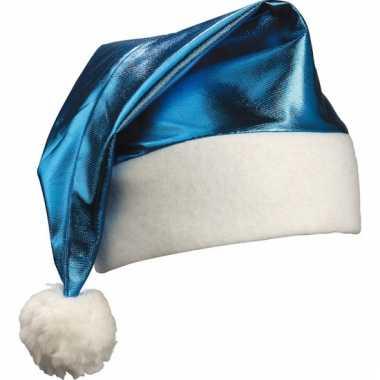 Glimmende blauwe kerstmuts