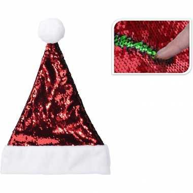 Glimmende verander/wrijfbare pailletten kerstmutsen rood/groen