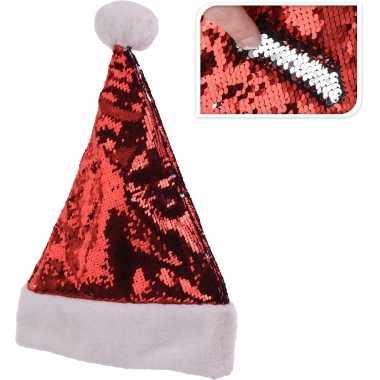 Glimmende verander/wrijfbare pailletten kerstmutsen rood/zilver
