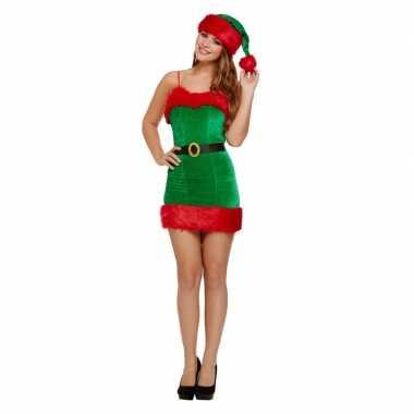 Groen/rode sexy kerstelf jurk kerstmuts dames