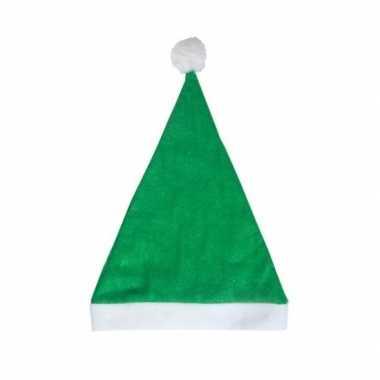 Groene voordelige kerstmuts volwassenen
