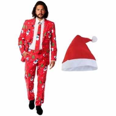 Heren opposuits kerst kostuum rood kerstmuts maat (m)