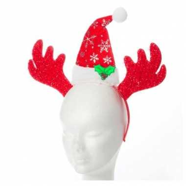 Kerst diadeem rendier kerstmuts