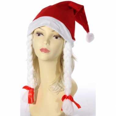 Kerst rode kerstmuts witte vlechten