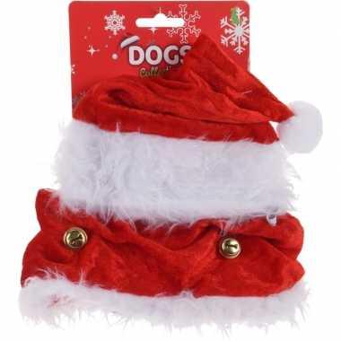 Kerstkleding honden kerstmuts halsband