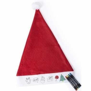 Kerstmuts kinderen inkleurbaar inclusief waskrijtjes