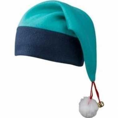 Kerstmuts navy/turquoise belletje volwassenen