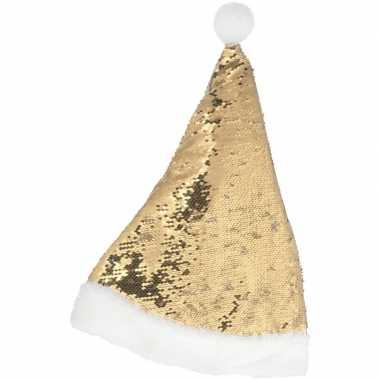 Kerstmuts omkeerbare pailletten goud/wit volwassenen