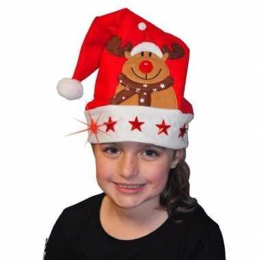 Kerstmuts rendier lichtjes kinderen