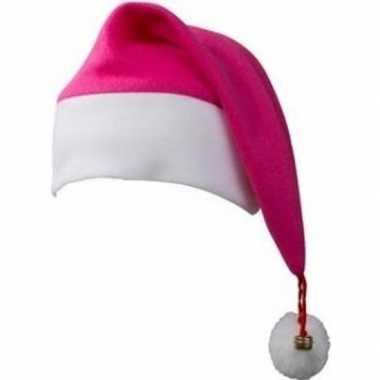 Kerstmuts wit/fuchsia roze belletje volwassenen