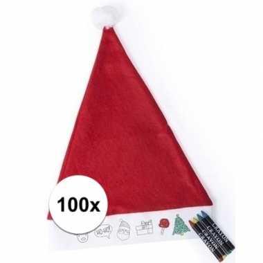 Kerstmutsen kinderen inkleurbaar inclusief waskrijtje
