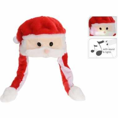 Pluche kerstmannen mutsen/kerstmutsen muziek/geluid