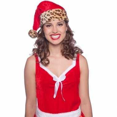 Pluche kerstmuts luipaard print vor volwassenen
