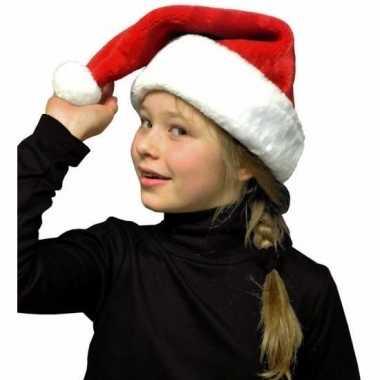 Pluche kerstmuts rood/wit kinderen