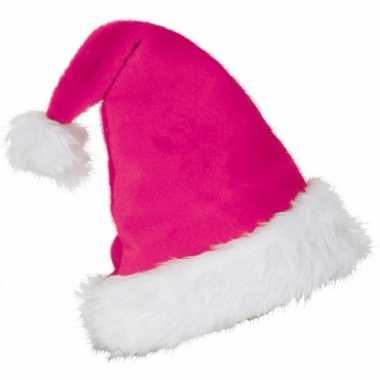 Pluche roze kerstmuts volwassenen