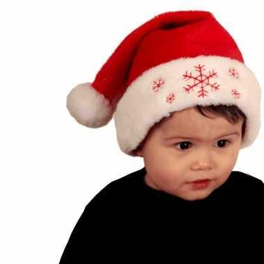 Rode baby kerstmutsen sneeuwvlokken