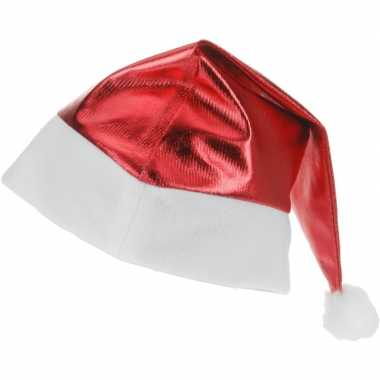 Rode glimmende kerstman kerstmuts volwassenen
