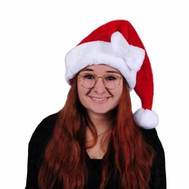Rode pluche dames kerstmutsen strikje