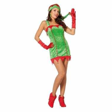 Rood/groene sexy kerstelf jurk kerstmuts dames