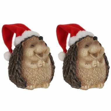 Set stuks egel kerstmuts beeldjes/kerstbeeldjes bij