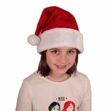 Voordelige pluche kerstmuts glitters kinderen