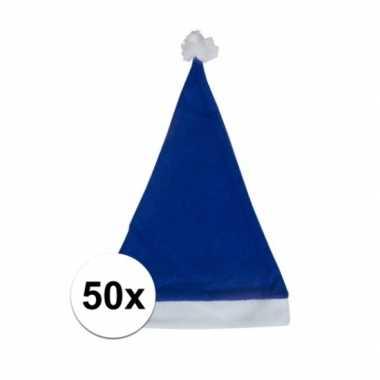 X blauwe voordelige kerstmuts volwassenen