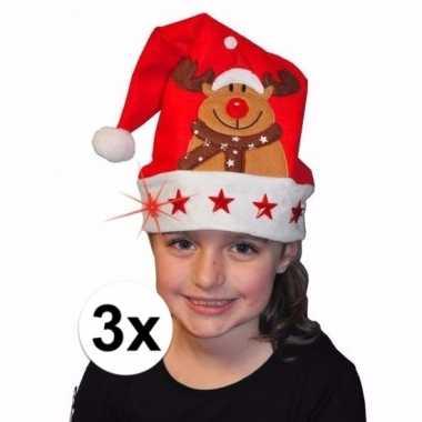 X kerstmuts rendier lichtjes kinderen