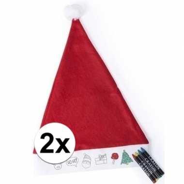 X kerstmutsen kinderen inkleurbaar inclusief waskrijtjes