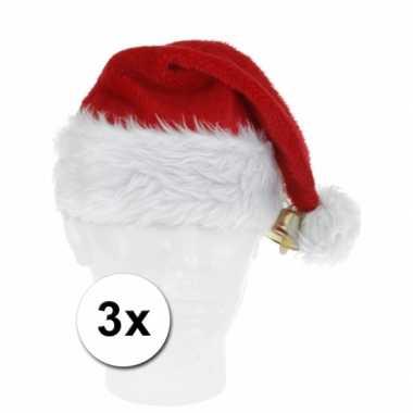 X luxe kerstmuts pluche bel