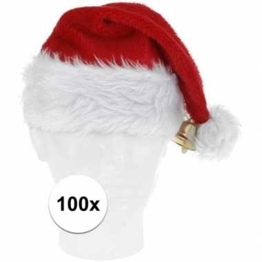 X luxe pluche kerstmutsen bel