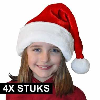 X pluche luxe kerstmutsen rood/wit kinderen