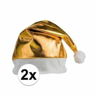 X stuks gouden glimmende kerstmutsen