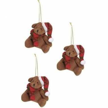 X stuks kersthangers knuffelbeertjes bruin rode sjaal muts