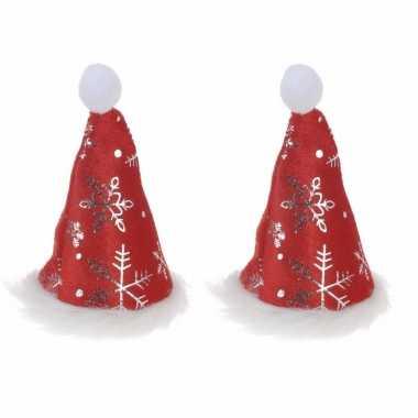 X stuks mini kerstmutsjes sneeuwvlokken clip