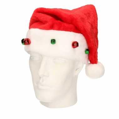 X stuks rode kerstmutsen gekleurde belletjes / jingle bells volwassenen