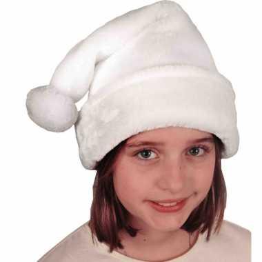 X stuks witte pluche kerstmutsen kinderen