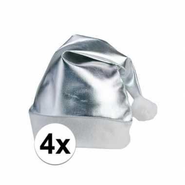 X stuks zilveren glimmende kerstmutsen volwassenen