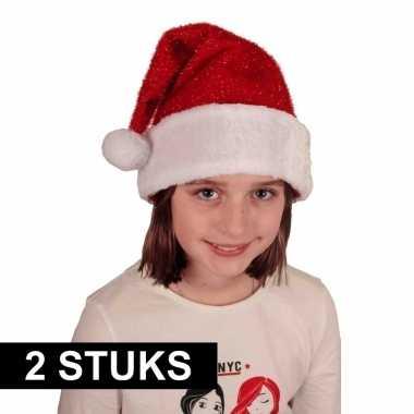 X voordelige pluche kerstmuts glitters kinderen