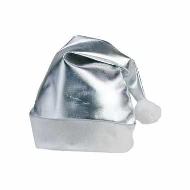 Zilveren glimmende kerstmuts