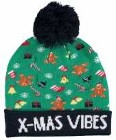 Foute kinder kerstmutsen wintermutsen bij mas vibes verlichting
