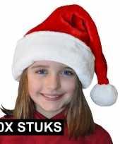 X pluche luxe kerstmutsen rood wit kinderen 10170106