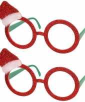X stuks rode brillen feestbrillen kerstmuts volwassenen